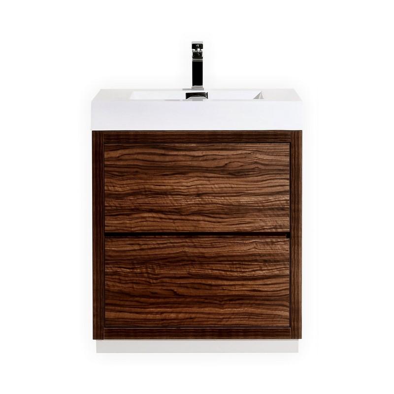 "Modern Lux 30"" Walnut Free Standing Modern Bathroom Vanity"