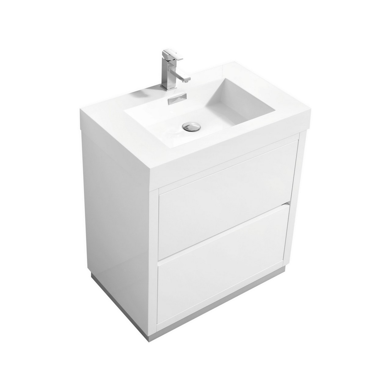 "Modern Lux 30"" High Gloss White Free Standing Modern Bathroom Vanity"
