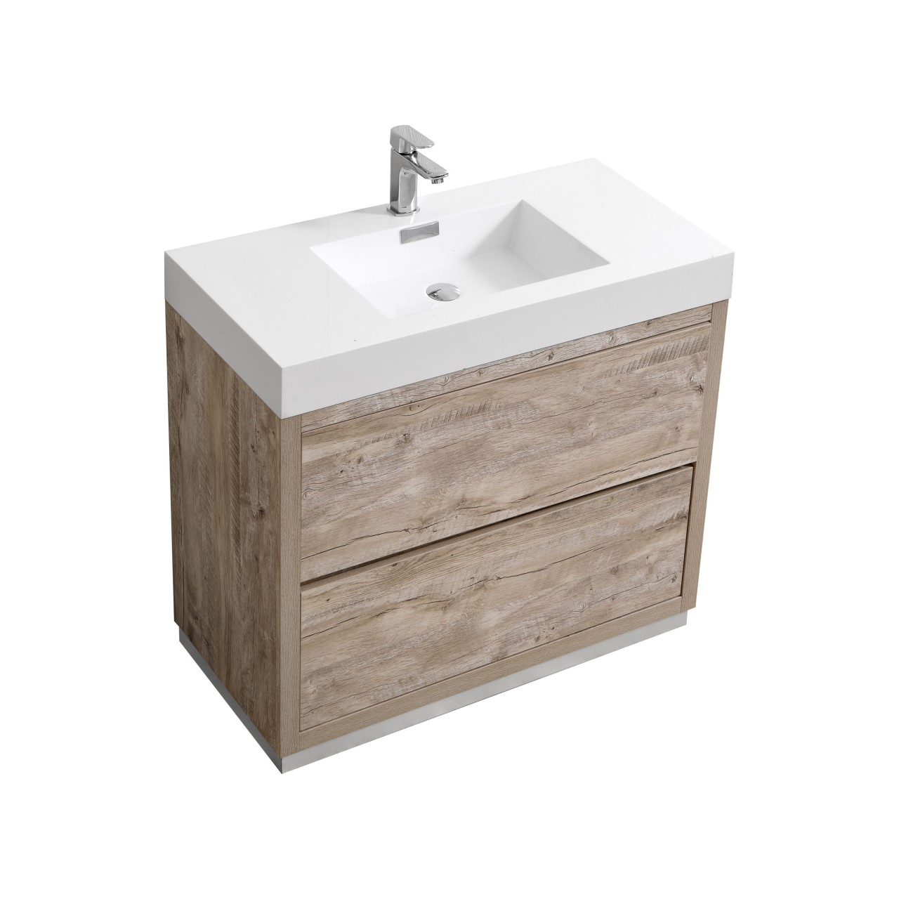 "Modern Lux 36"" Nature Wood Free Standing Modern Bathroom Vanity"