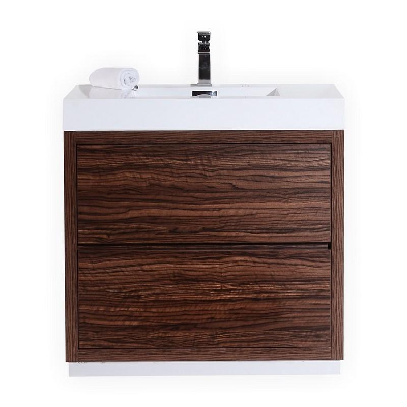 "Modern Lux 36"" Walnut Free Standing Modern Bathroom Vanity"