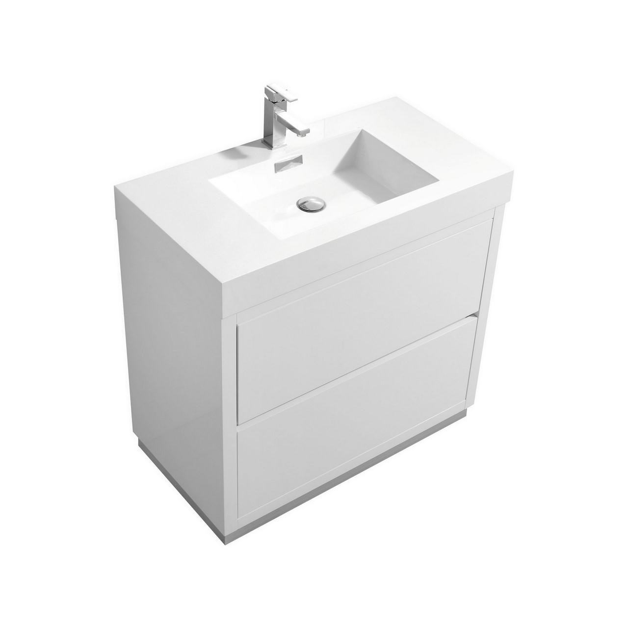"Modern Lux 36"" High Gloss White Free Standing Modern Bathroom Vanity"