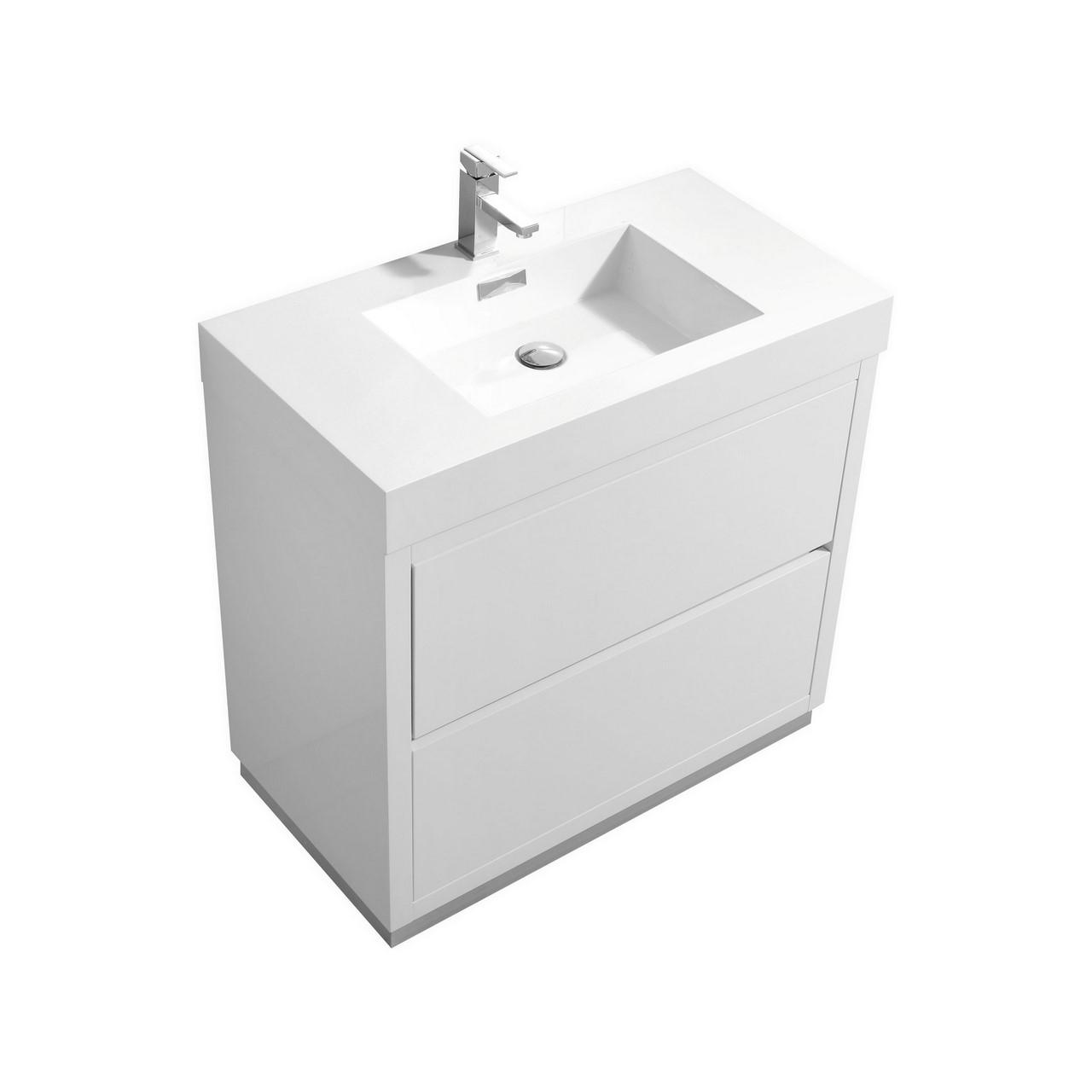 "Modern Lux 36"" High Gloss White Free Standing Modern Bathroom Vanity"