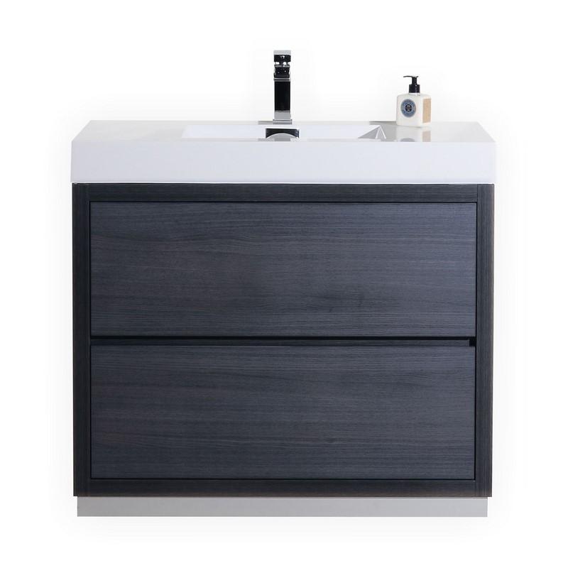 """Modern Lux 40"""" Gray Oak Free Standing Modern Bathroom Vanity"""