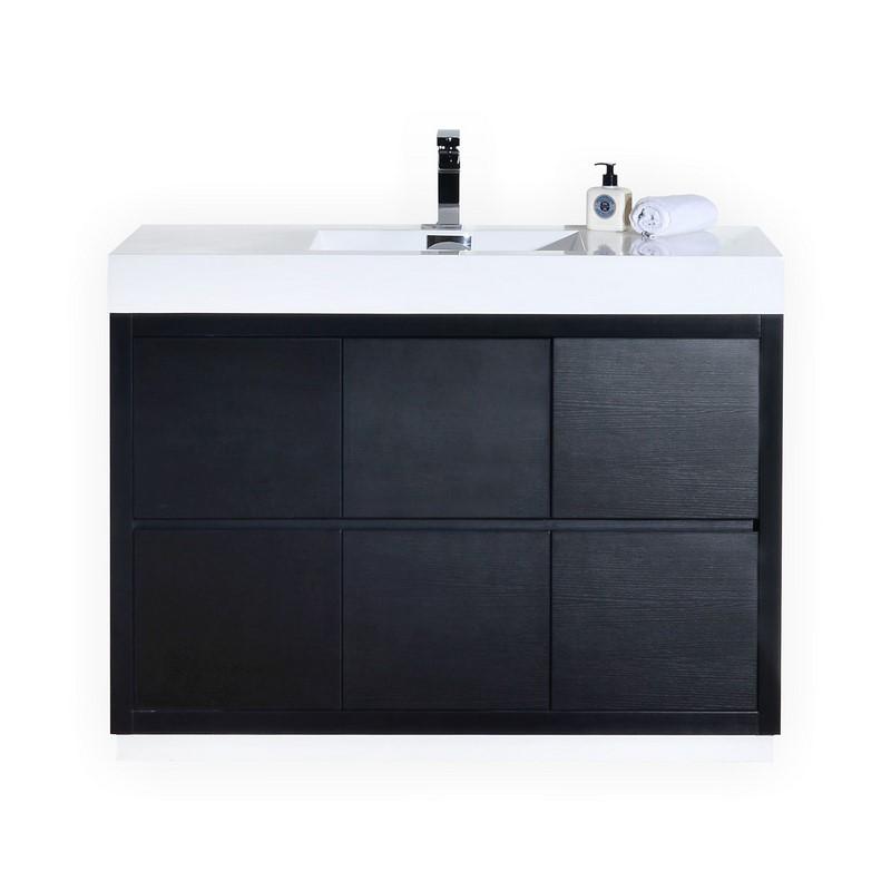 """Modern Lux 48"""" Black Free Standing Modern Bathroom Vanity"""