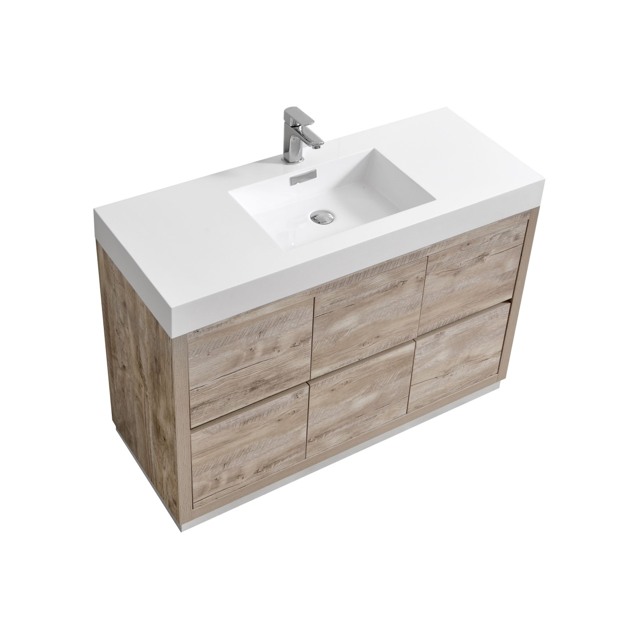 "Modern Lux 48"" Nature Wood Free Standing Modern Bathroom Vanity"