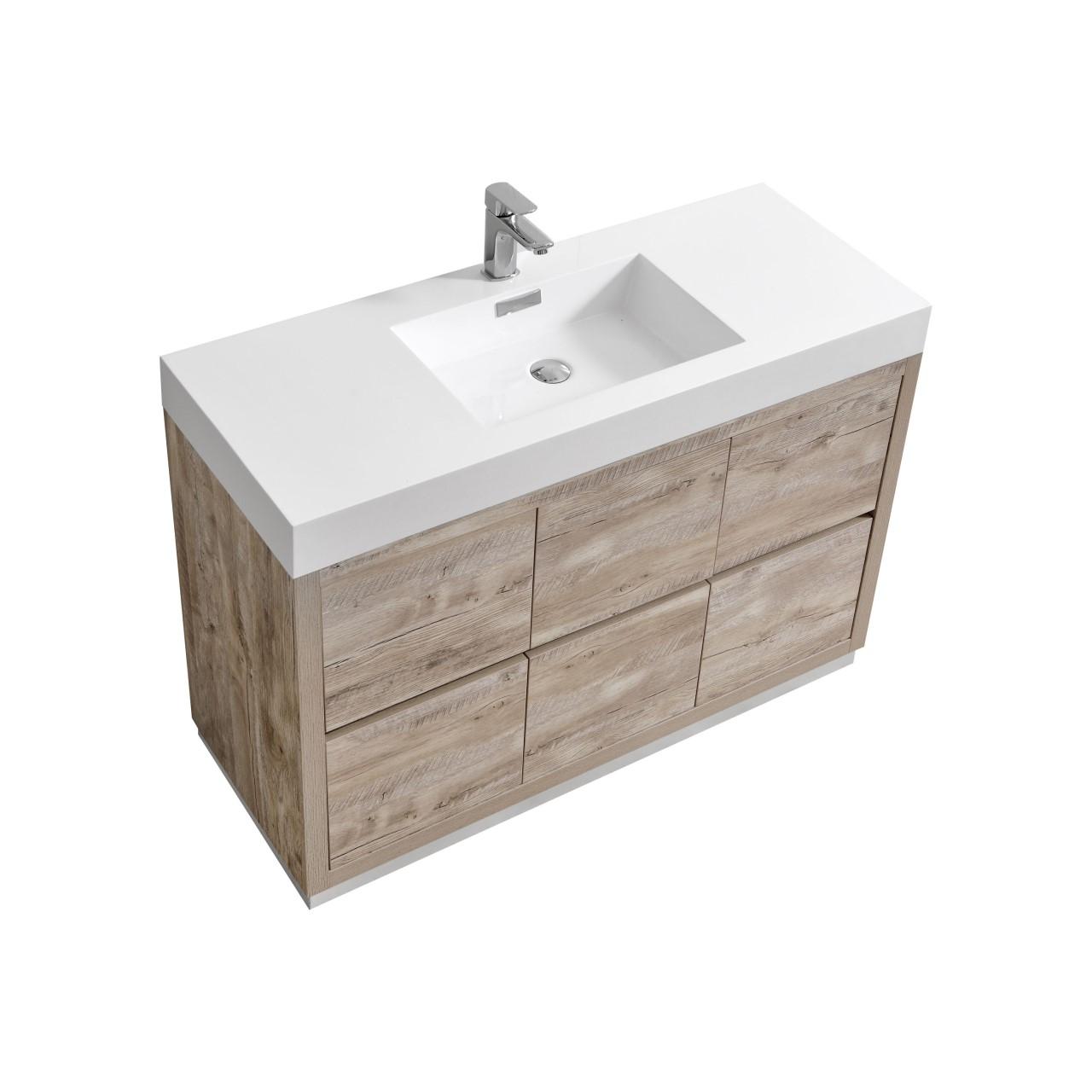 """Modern Lux 48"""" Nature Wood Free Standing Modern Bathroom Vanity"""