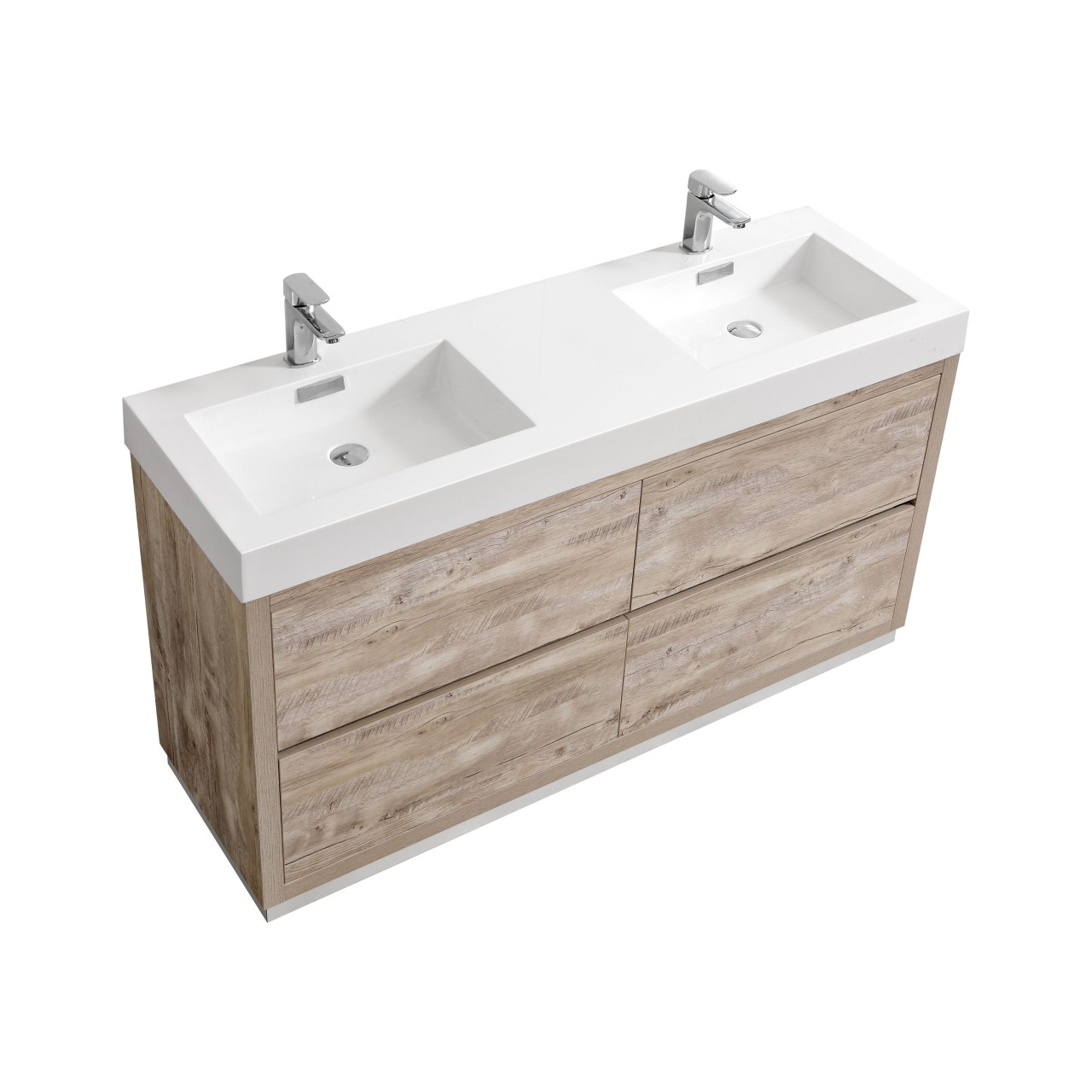 "Modern Lux 60"" Double Sink Nature Wood Free Standing Modern Bathroom Vanity"