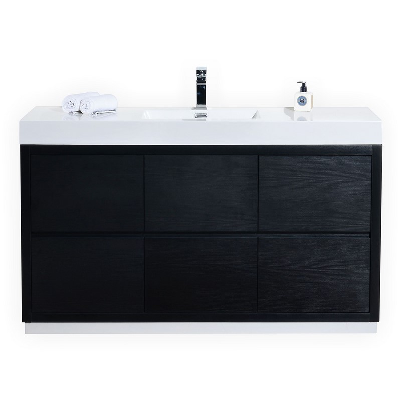 "Modern Lux 60"" Single Sink Black Free Standing Modern Bathroom Vanity"