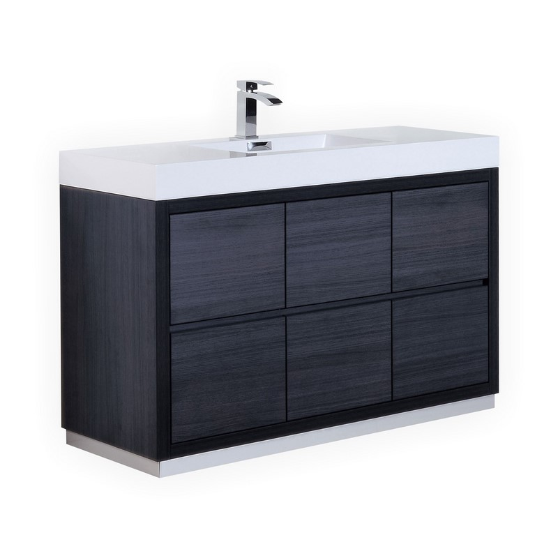 "Modern Lux 60"" Single Sink Gray Oak Free Standing Modern Bathroom Vanity"