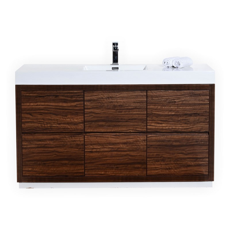 "Modern Lux 60"" Single Sink Walnut Free Standing Modern Bathroom Vanity"