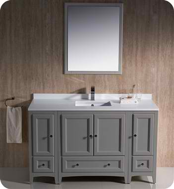 "54"" Traditional Bathroom Vanity Gray Finish"