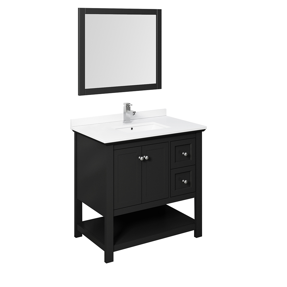"Fresca Manchester 36"" Traditional Bathroom Vanity with Mirror and Color Options"