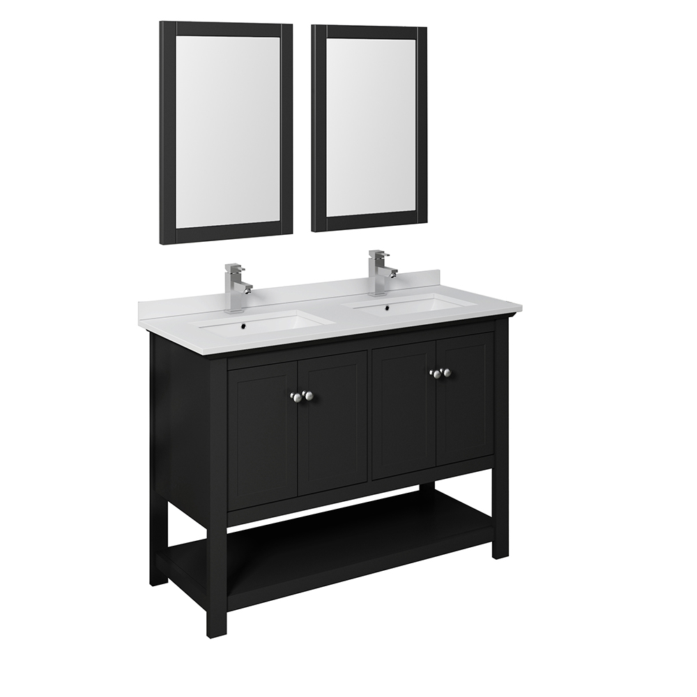 "Fresca Manchester 48"" Traditional Double Sink Bathroom Vanity with Mirrors and Color Options"