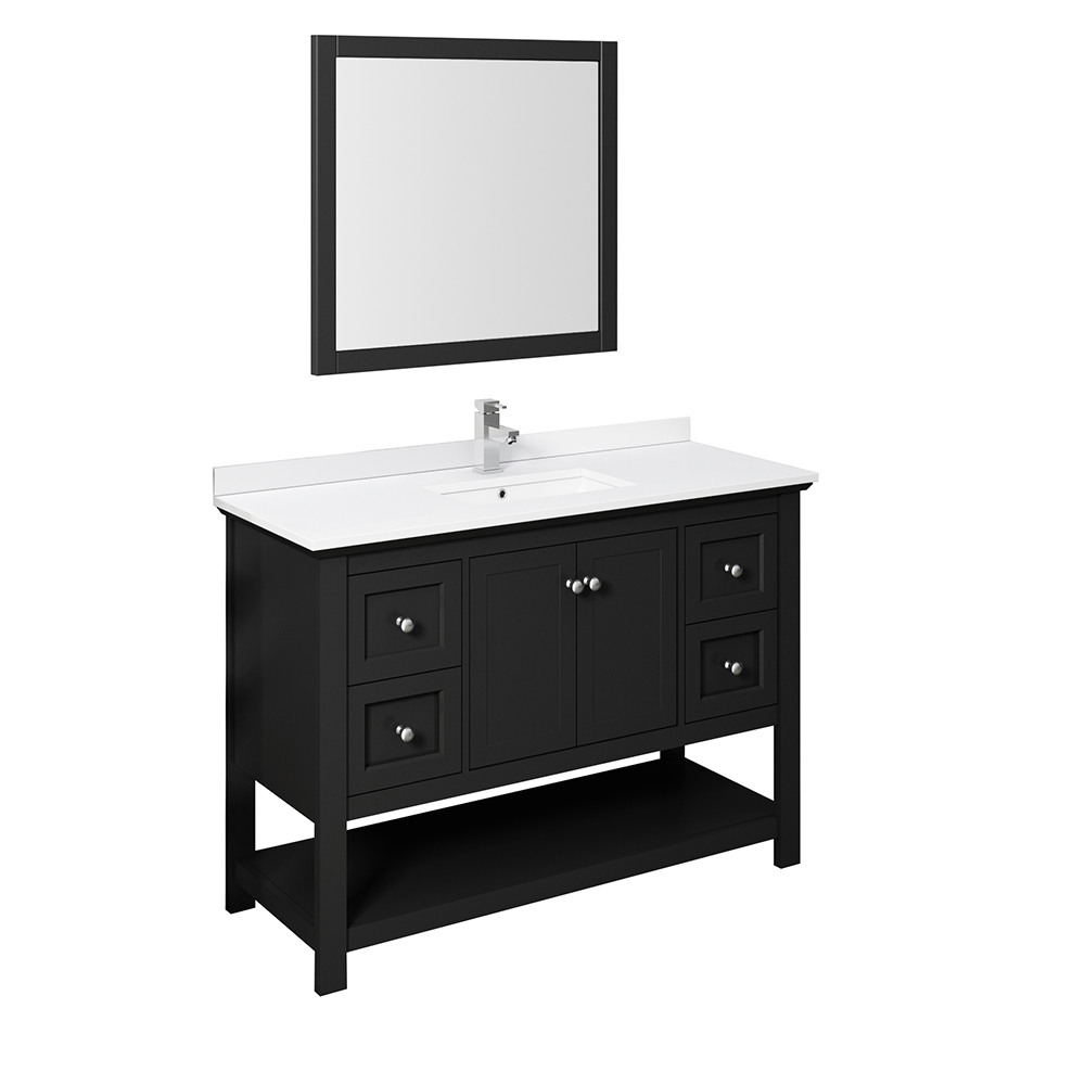 "Fresca Manchester 48"" Traditional Bathroom Vanity with Mirror and Color Options"