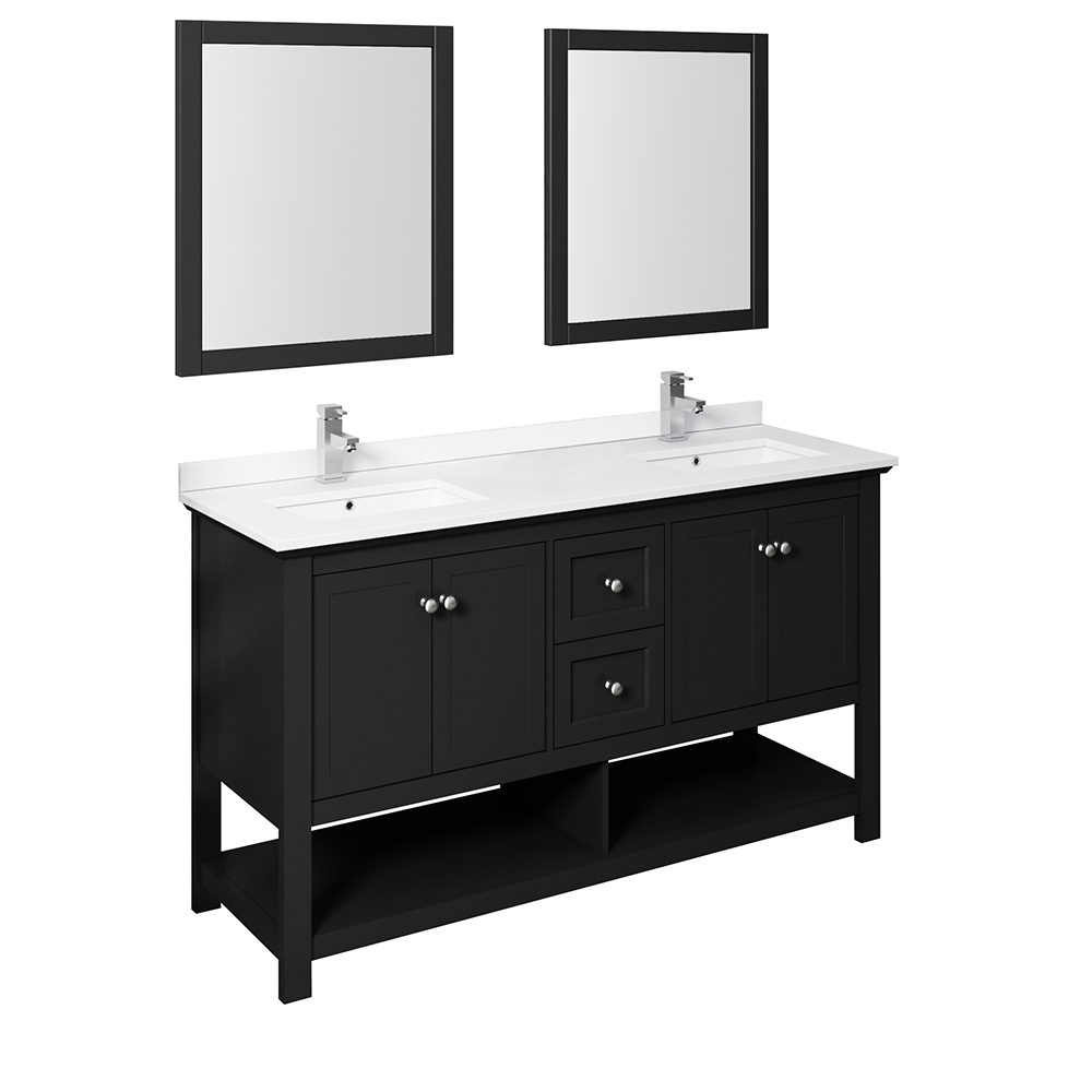 "Fresca Manchester 60"" Traditional Double Sink Bathroom Vanity with Mirrors and Color Options"