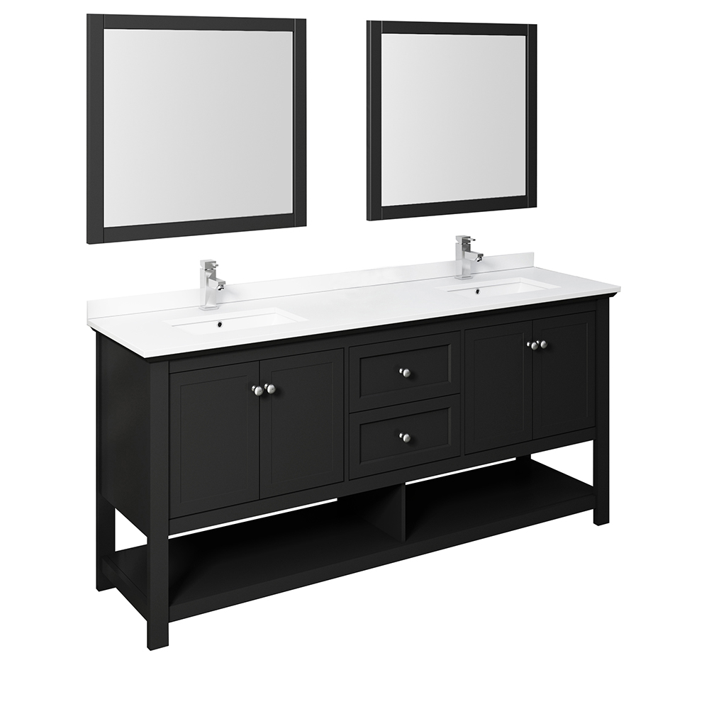 "Fresca Manchester 72"" Traditional Double Sink Bathroom Vanity with Mirrors and Color Options"