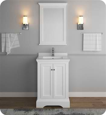 "Windsor 24"" Matte White Traditional Bathroom Vanity with Mirror"