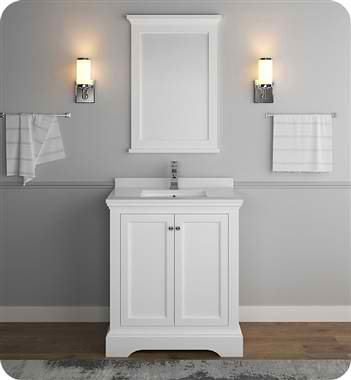 "Windsor 30"" Matte White Traditional Bathroom Vanity with Mirror"