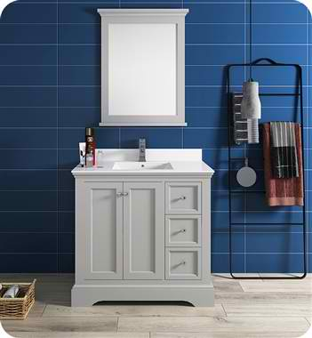 """36"""" Gray Textured Traditional Bathroom Vanity with Mirror"""