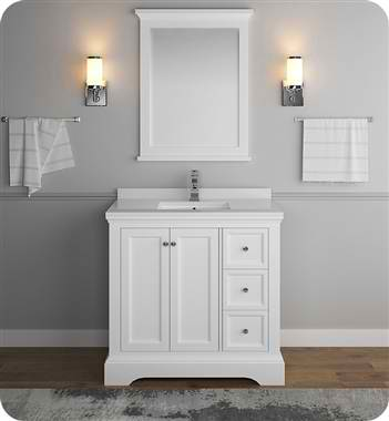"36"" Matte White Traditional Bathroom Vanity with Mirror"