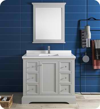"Windsor 40"" Gray Textured Traditional Bathroom Vanity with Mirror"