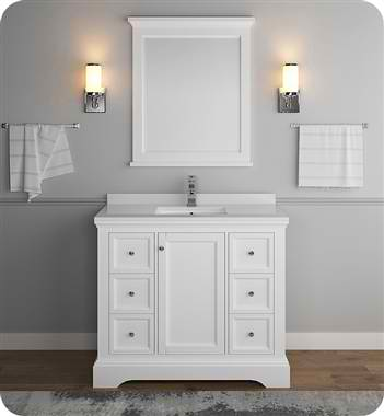 "Windsor 40"" Matte White Traditional Bathroom Vanity with Mirror"