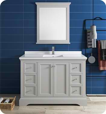 "Windsor 48"" Gray Textured Traditional Bathroom Vanity with Mirror"