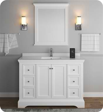 "Windsor 48"" Matte White Traditional Bathroom Vanity with Mirror"