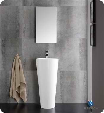 "Messina 16"" White Pedestal Sink with Medicine Cabinet - Modern Bathroom Vanity"
