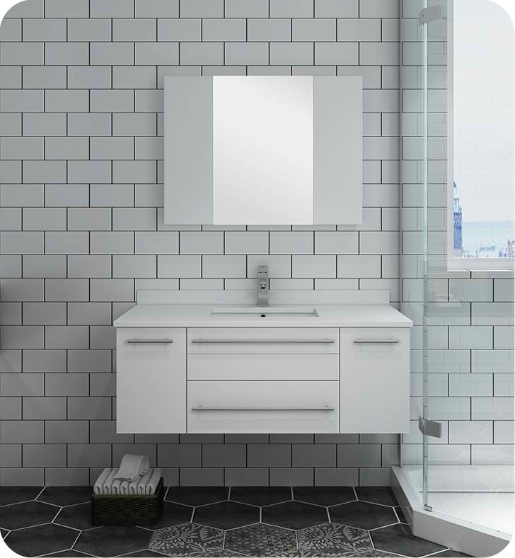 "Fresca Lucera 42"" White Wall Hung Undermount Sink Modern Bathroom Vanity with Medicine Cabinet"