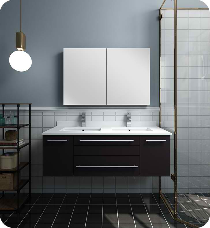 "Fresca Lucera 48"" Espresso Wall Hung Double Undermount Sink Modern Bathroom Vanity with Medicine Cabinet"