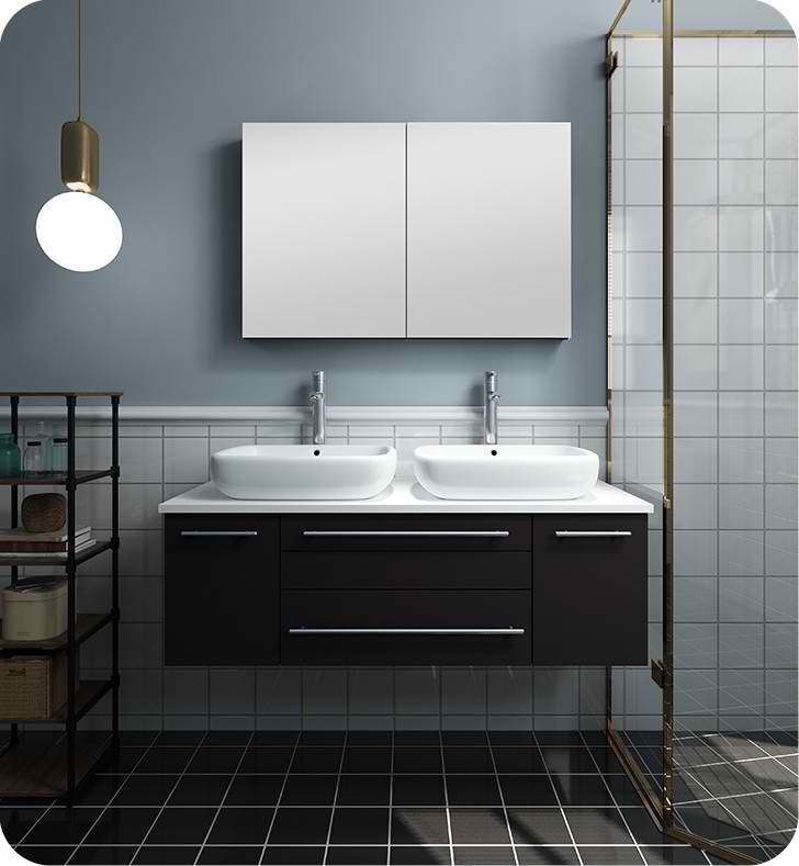 "48"" Espresso Wall Hung Double Vessel Sink Modern Bathroom Vanity with Medicine Cabinet"