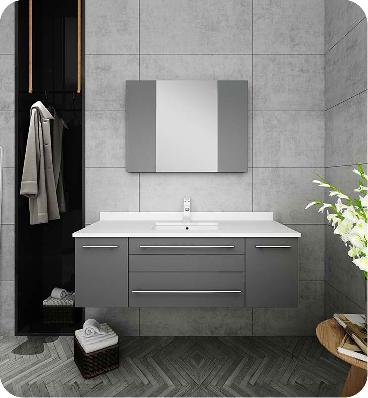 "Fresca Lucera 48"" Gray Wall Hung Undermount Sink Modern Bathroom Vanity with Medicine Cabinet"