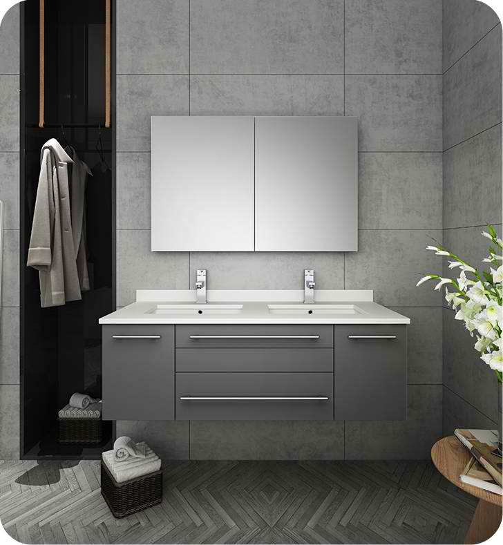 "Fresca Lucera 48"" Gray Wall Hung Double Undermount Sink Modern Bathroom Vanity with Medicine Cabinet"
