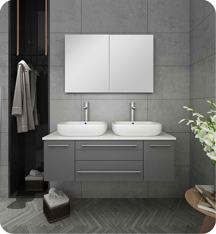 "Fresca Lucera 48"" Gray Wall Hung Double Vessel Sink Modern Bathroom Vanity with Medicine Cabinet"