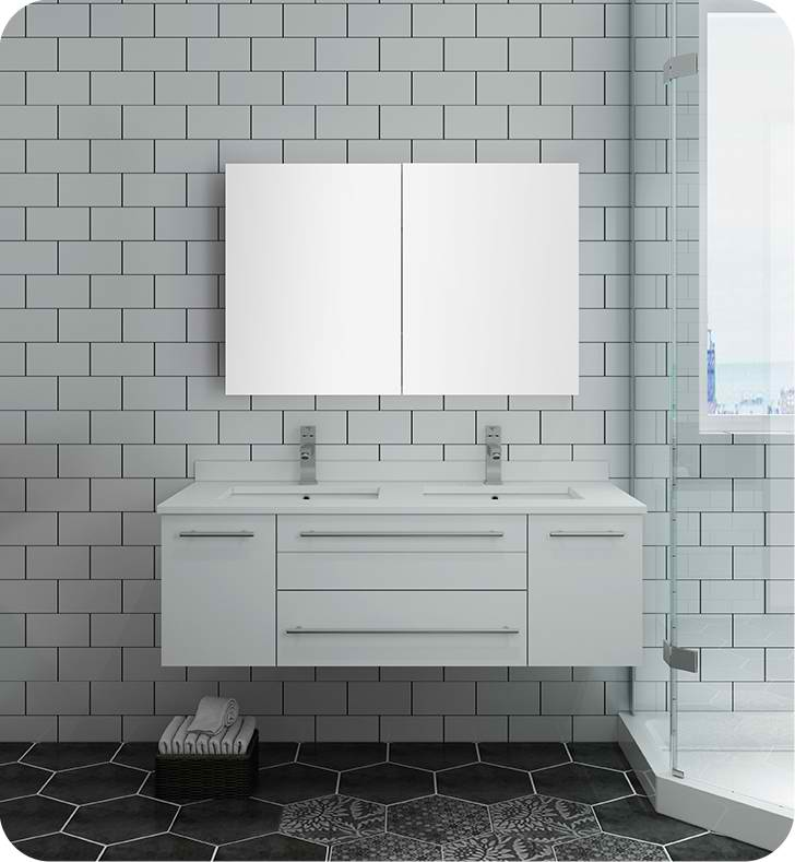 "Fresca Lucera 48"" White Wall Hung Double Undermount Sink Modern Bathroom Vanity with Medicine Cabinet"