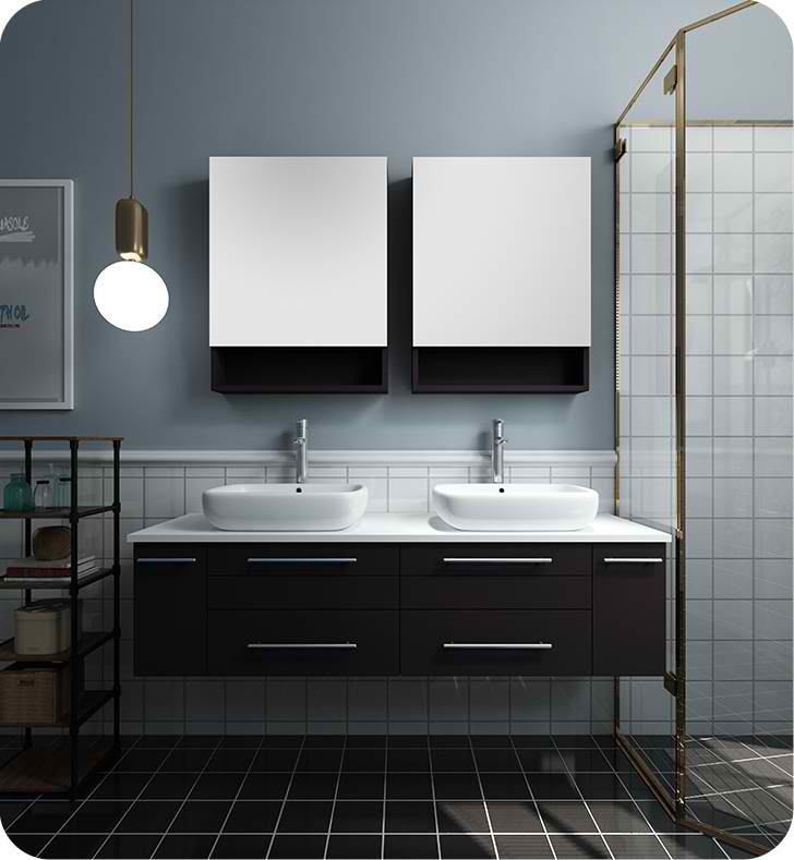 "Fresca Lucera 60"" Espresso Wall Hung Double Vessel Sink Modern Bathroom Vanity with Medicine Cabinets"
