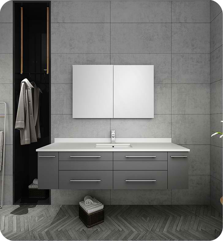 "Fresca Lucera 60"" Gray Wall Hung Single Undermount Sink Modern Bathroom Vanity with Medicine Cabinet"