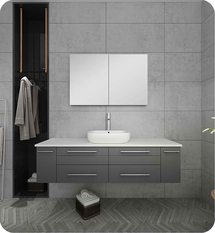 "Fresca Lucera 60"" Gray Wall Hung Single Vessel Sink Modern Bathroom Vanity with Medicine Cabinet"