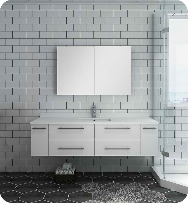 "Fresca Lucera 60"" White Wall Hung Single Undermount Sink Modern Bathroom Vanity with Medicine Cabinet"