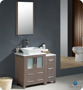 "Fresca Torino 36"" Gray Oak Modern Bathroom Vanity Vessel Sink with Faucet and Linen Side Cabinet Option"