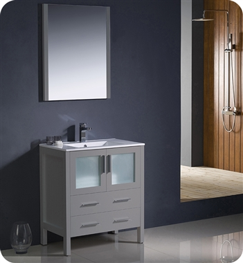 "Fresca Torino 30"" Gray Modern Bathroom Vanity with Faucet and Linen Side Cabinet Option"