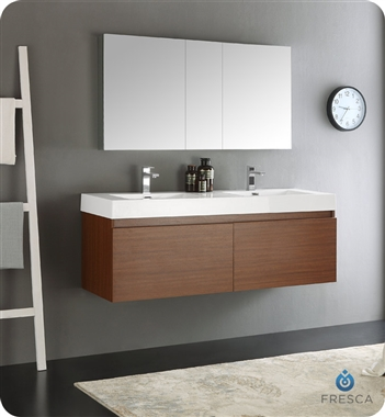 "Fresca Mezzo 60"" Teak Wall Hung Double Sink Modern Bathroom Vanity with Faucet, Medicine Cabinet and Linen Side Cabinet Option"