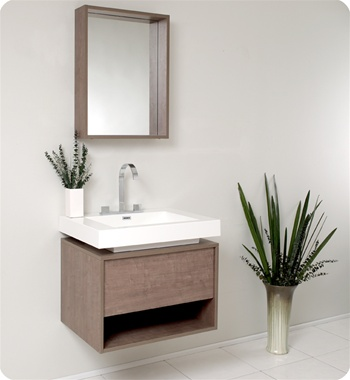 "28"" Gray Oak Modern Bathroom Vanity with Faucet, Medicine Cabinet and Linen Side Cabinet Option"