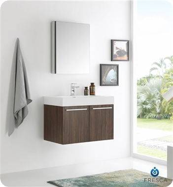 "Fresca Vista 30"" Walnut Wall Hung Modern Bathroom Vanity with Faucet, Medicine Cabinet and Linen Side Cabinet Option"