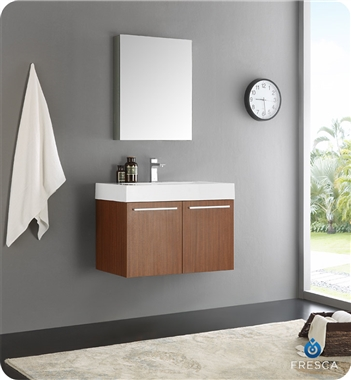 "Fresca Vista 30"" Teak Wall Hung Modern Bathroom Vanity with Faucet, Medicine Cabinet and Linen Side Cabinet Option"