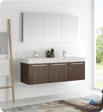 "Fresca Vista 60"" Walnut Wall Hung Double Sink Modern Bathroom Vanity with Faucet, Medicine Cabinet and Linen Side Cabinet Options"