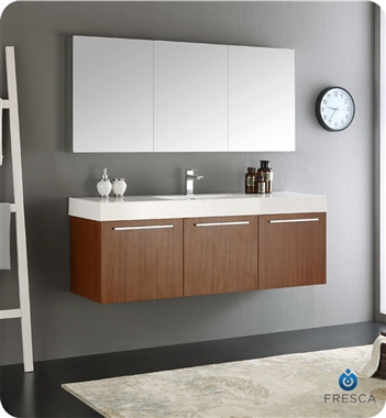 "Fresca Vista 60"" Teak Wall Hung Modern Bathroom Vanity with Faucet, Medicine Cabinet and Linen Side Cabinet Option"