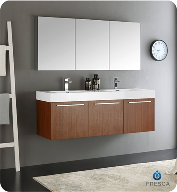 "60"" Teak Wall Hung Double Sink Modern Bathroom Vanity with Faucet, Medicine Cabinet and Linen Side Cabinet Options"