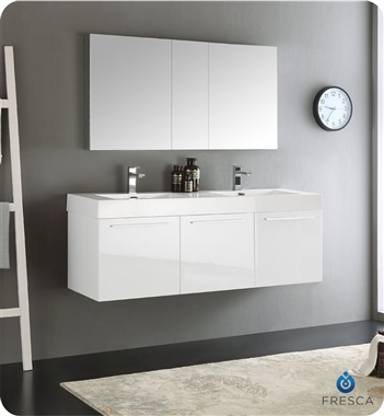 "Fresca Vista 60"" White Wall Hung Double Sink Modern Bathroom Vanity with Faucet, Medicine Cabinet and Linen Side Cabinet Options"